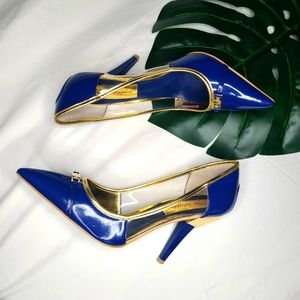 Baby phat blue and gold heels